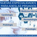 Nuevas especialidades para Adeslas (póliza privada)